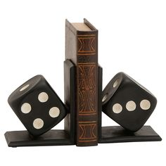 These dice bookends are guaranteed to bring a bold pop of style to your game room or library. Product: Set of 2 . Off White Paints, Dot And Bo, L Shape, Joss And Main, Home Accents, Game Room, Home Furniture, Accent Furniture, Libraries