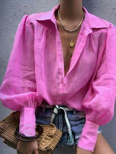Women Blouse Fashion Lantern Sleeve Loose Blouse V Neck Casual Office Lady Shirts Tops Autumn Womens Clothing Top Femme, Pink / S Trend Fashion, Fashion Mode, Look Fashion, Fashion Outfits, Womens Fashion, Ladies Fashion, Fashion Ideas, Emo Outfits, Lolita Fashion