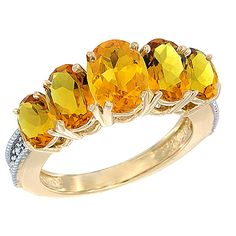 10K Yellow Gold Diamond Natural Citrine Ring 5-stone Oval 8x6 Ctr,7x5,6x4 sides, sizes 5 - 10 >>> Check out the image by visiting the link.-It is an affiliate link to Amazon. #Rings