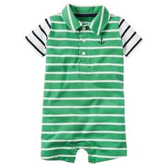 Baby Boy Carter's Striped Polo Romper, Size: 9 months, Green