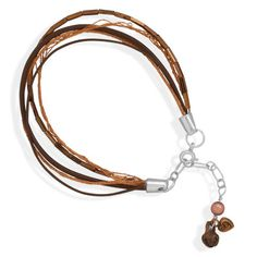 5 strand leather, glass bead and silk thread bracelet. There are copper charms and a cultured freshwater pearl on the sterling silver extender chain. $35