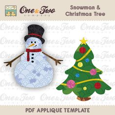 Fabric  APPLIQUE TEMPLATE Only PDF - Snowman & Christmas Tree