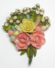 VIntage Seashell Flower Bouquet Brooch