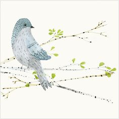 """CODE: WS427 NAME: BIRD ON A BRANCH PRICE: £1.75 Buy now: https://www.phoenix-trading.co.uk/web/km43704/area/shop-online/category/birds/product/WS427/bird-on-a-branch/ Presentation: Embossed, with a white 100 gsm envelope. Blank for your own message Paper Type: Matt Textured Artist: Katie Wilson Size: 5 x 5"""" : 127 x 127mm"""