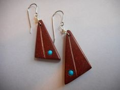pipestone Earrings with Turquoise Inlay Hypo-allergenic Ear Wires