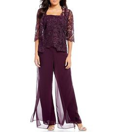 Shop for Emma Street Lace Chiffon Pant Set Mother Of The Bride Plus Size, Mother Of The Bride Suits, Mother Of Bride Outfits, Mother Of Groom Dresses, Lace Cardigan, Lace Jacket, Chiffon Pants, Lace Chiffon, Winter Wedding Outfits