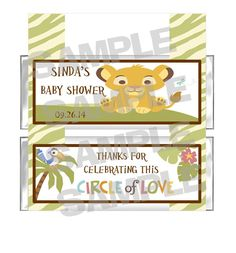 Personalized Circle of Love Simba LION KING Baby Shower candy bar wrappers party favor. $9.99, via Etsy.