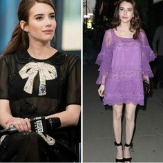 Emma Roberts e seu estilo bonequinha retrô me encantam mais e mais a cada dia. Ela usou dois lindos vestidos #coach, preto/transparente, com laços. E #chloe lilás, rendado, para os eventos de The Blackcoat's Daughter, em Nova York. Linda!💟✨ #beautiful #emmaroberts #fashionstyle #inspirations #theblackcoatsdaughter #events #newyork