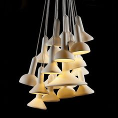 TORCH LIGHT BUNCH OF 20 - WHITE WITH WHITE CABLE    by   SYLVAIN WILLENZ