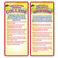 Talking To Your Child About Going To College Two-Sided English/Spanish Glancer With Magnet