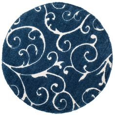 Florida Shag Dark Blue/Cream (Dark Blue/Ivory) 6 ft. 7 in. x 6 ft. 7 in. Round Area Rug