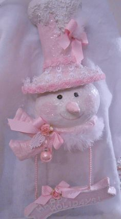 shabby pink victorian christmas snowlady