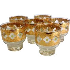 Culver Glass Valencia Mid Century Stackable Rocks Tumblers - Set of Six