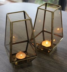 Retro Geometric Lantern - Brass Lantern with Tinted Glass Panels  If cool and retro is your thing then these lanterns are just perfect for