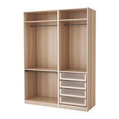 IKEA - PAX Wardrobe white stained oak effect Ikea Pax Wardrobe, Wooden Wardrobe, Wardrobe Furniture, Wardrobe Storage, Pax Corner Wardrobe, Wooden Sofa Designs, Chair Design Wooden, Wooden Living Room Furniture, Bedroom Furniture Design