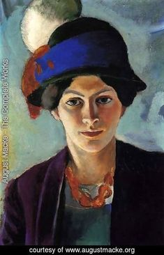 August Macke - Portrait of the Artist's wife Elisabeth with a Hat (Frau des Kunstlers mit Hut)  1909