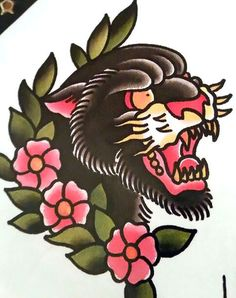 "Maybe incorporate flowers into panther body? (Traditional/old school tattoo, Jeromey ""tilt"" McCulloch, Ben Cheese, panther head ) Traditional Panther Tattoo, Traditional Tattoo Design, Traditional Tattoos, Head Tattoos, Body Art Tattoos, Sleeve Tattoos, Tattoo Ink, Arm Tattoo, Tiger Tattoo"