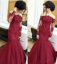 Wine Red Colored Lace Evening Dress, Mermaid Elegant