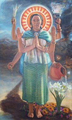 Art: Curandera de la Madre Tierra by *Ricardo Ortega* Goddess Names, World Mythology, Celtic Mythology, Sacred Feminine, Mexican Art, Illustrations, Gods And Goddesses, Archetypes, Mythical Creatures