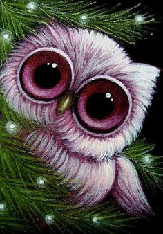 Owl paintings | Art: FANTASY PINK BABY OWL 1ST HOLIDAY by Artist Cyra R. Cancel