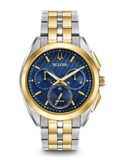 7b3fdf03a Zales Men's Bulova Curv Chronograph Two-Tone Watch with Blue Dial (Model: