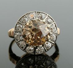 1930s Diamond Ring - Champagne Diamond in White and Yellow Gold Diamond Setting