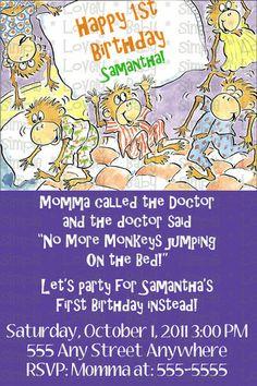 Custom Monkeys Jumping on the Bed Birthday Invite Invitation DIY print
