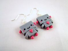 Robot Kawaii Polymer Clay Dangle Earrings by DoodieBear on Etsy, $10,50