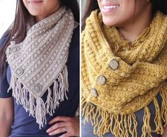 Crochet Buttoned Cowl and Infinity Scarf