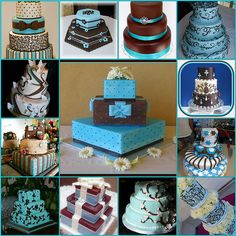 Blue and brown wedding cake ideas _ Brown is such a great primary color, very warm and classy