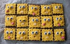 SpongeBob Chocolate sugar cookies covered in fondant for papa Brownie Icing, Cake Cookies, Cupcake Cakes, Buttercream Cupcakes, Sponge Bob Cupcakes, Cute Food, Yummy Food, Cheese Squares, Food Humor