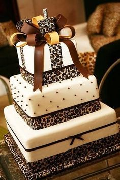 Animal print ribbons on 3 tier square Cake