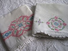 Vintage Shabby Chic Embroidered Pillowcases by Therobinandsparrow