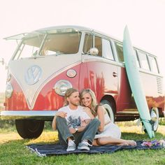 This couple donned hippie-esque outfits and hopped into the shiny red Volkswagon van to make this cute throwback engagement session!