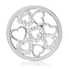 """Nikki Lissoni Swarovski Sparkling Hearts Coin - Medium Silver-Tone -  Nikki Lissoni medium Nikki Lissoni silver-tone Swarovski Sparkling Hearts coin insert for interchangeable, personalized fashion and style. Fits into the Nikki Lissoni medium (1-1/2"""") coin holder pendants."""
