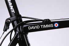 2 x WIGGO Bradley Wiggins style personalised Frame Helmet Bike Decals Stickers