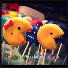 Our Pacman Inspired cake pops #oursweetbites Like us on Facebook rsweetbites@gmail.com Disney Cake Pops, I Am Amazing, Mini Pies, Cute Cakes, Creative Cakes, Balls, The Incredibles, Cookies, Facebook