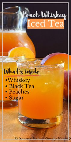 Super easy 5 ingredient Peach Whiskey Iced Tea is a favorite summertime cocktail recipe! It's perfect for parties and gatherings from Serena Bakes Simply From Scratch. Peach Whiskey, Whiskey Drinks, Bar Drinks, Cocktail Drinks, Cocktail Recipes, Scotch Whiskey, Irish Whiskey, Iced Tea Cocktails, Craft Cocktails