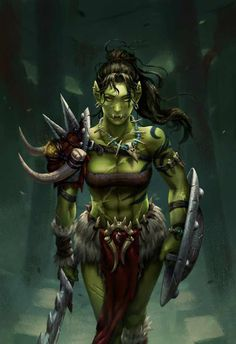 Ursa Skingorger, Orc Warrior & Turcolier of the Knights Ascendant Fantasy Warrior, Fantasy Girl, Dark Fantasy, Orc Warrior, Chica Fantasy, Fantasy Races, Fantasy Women, Fantasy Rpg, Fantasy Artwork