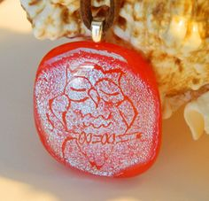 Sleeping Owl engraved in Dichroic on Red Fused by uniquenique, $28.00 #onfireteam #lacwe #teamfest #owl #handmade