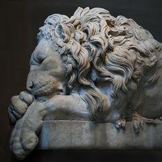 Sleeping Lion sculpture at Chatsworth, Derbyshire! England