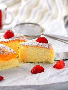 Condensed Milk Cheesecake servings) - Woman Scribbles -- If you want a cheesecake that is light and creamy with just the right level of indulgence, try this condensed milk cheesecake and be delighted by its soft and delicate texture. Condensed Milk Cheesecake Recipes, Creamy Cheesecake Recipe, Condensed Milk Desserts, Light Cheesecake, Cotton Cheesecake, Arabic Dessert, Arabic Sweets, Arabic Food, Custard Cake