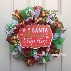 Christmas Wreath Deco Mesh Christmas by WelcomingWreathsMore