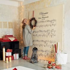 Oversized Book Page + Sheet Music Art -- I'd use The First Noel sheet music Christmas Love, All Things Christmas, Christmas Holidays, Christmas Crafts, Christmas Carol, Christmas Music, Diy Natal, Christmas Backdrops, Church Christmas Decorations