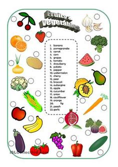 Matching activity for the vocabulary of fruits and vegetables. - ESL worksheets