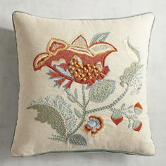 Single Embroidered Flower Pillow