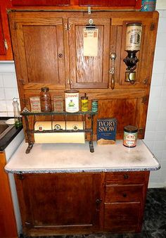 1890s Original Vintage Tiger Oak Hoosier Old Antique Kitchen Cabinet W Flour Bin I