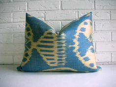 Blue Ikat Throw Pillow Cover Silk - Blue Khaki Light Olive Green - Tribal Accent Cushion This beautiful pillow cover is made from an imported