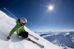 Skier with sun and mountains. Female skier on downhill race with sun and mountai , Travel Competitions, Skiing Quotes, San Bernardino Mountains, Ski Holidays, Ski Chalet, Zermatt, Best Resorts, Winter Sports, Backpacker