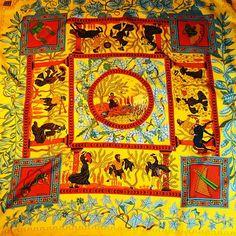 Musique des Dieux HERMES Silk Scarf 90 cm